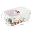 Llg447Ctlg Locknlock Glass Lunch Box With 3 Compartments 1000Ml (Green)
